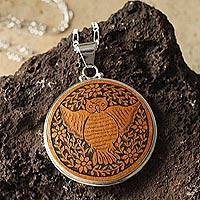 Mate gourd pendant necklace, 'Wisdom' - Mate gourd pendant necklace