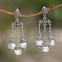 Cultured pearl chandelier earrings, 'Trinity in White' - Silver and White Cultured Pearl Chandelier Earrings
