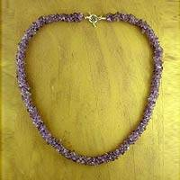 Amethyst beaded necklace, 'Mysteries' - Amethyst beaded necklace
