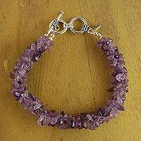 Amethyst beaded bracelet, 'Mysteries' (large) - Amethyst beaded bracelet (Large)