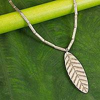 Silver pendant necklace, 'Leaf of Peace' - Silver pendant necklace