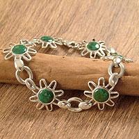 Chrysocolla flower bracelet,