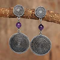 Amethyst dangle earrings, 'Filigree Moon' - Amethyst dangle earrings