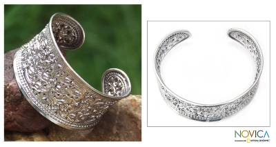 Sterling silver cuff bracelet, 'Eastern Blossoms'