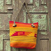 Wool tote bag, 'Zapotec Sunrise' - Wool tote bag