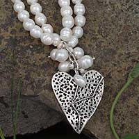 Pearl heart necklace, 'Whispering Love' - Pearl heart necklace