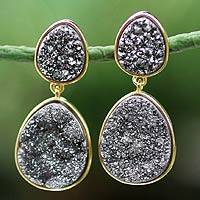 Gold plated drusy agate dangle earrings, 'Dark Mystery' - Gold plated drusy agate dangle earrings