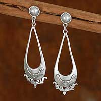 Sterling silver drop earrings, 'Teardrop Rose' - Sterling silver drop earrings