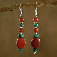 Carnelian and turquoise dangle earrings,