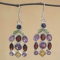 Amethyst and garnet dangle earrings, 'Color Cascade' - Amethyst and garnet dangle earrings
