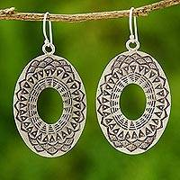 Sterling silver dangle earrings, 'Lotus Shield' - Sterling silver dangle earrings