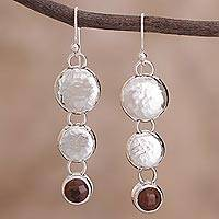 Mahogany obsidian dangle earrings, 'Impressions' - Mahogany obsidian dangle earrings