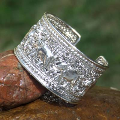 Sterling silver cuff bracelet, 'Elephant Parade'