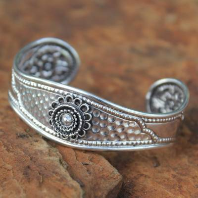 Sterling silver cuff bracelet, 'Floral Trio' - Sterling silver cuff bracelet