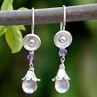 Rose quartz and amethyst drop earrings, 'Rose Fairy' - Rose quartz and amethyst drop earrings