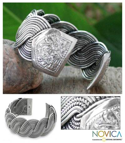 Sterling silver cuff bracelet, 'Tropical Surf' - Sterling silver cuff bracelet