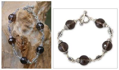 Smoky quartz link bracelet, Regal Elegance (8-inch)