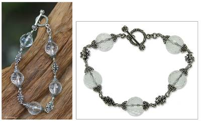 Quartz beaded bracelet, Regal Elegance (7.25 inches)