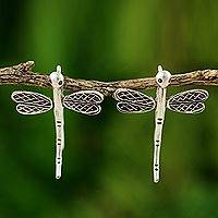 Silver drop earrings, 'Dragonfly Flight' - Silver drop earrings