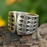 Sterling silver wrap ring, 'Mountain Wildflowers' - Sterling silver wrap ring