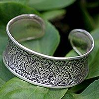 Sterling silver cuff bracelet, 'Tropical' - Sterling silver cuff bracelet