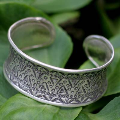 Sterling silver cuff bracelet, Tropical