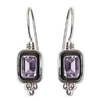 Amethyst drop earrings, 'Mystic Violet' - Amethyst drop earrings