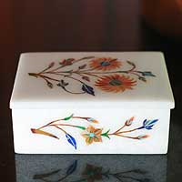Marble inlay jewelry box, 'Sunflower Duet' - Marble inlay jewelry box from India