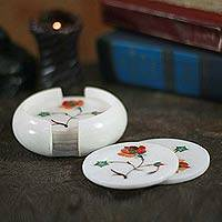Marble inlay coaster set,