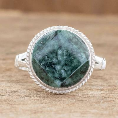 Jade cocktail ring, 'Square Circle' - Jade cocktail ring
