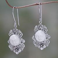 Cow bone flower earrings, 'Frangipani Moon' (Indonesia)