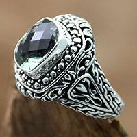 Prasiolite single stone ring, 'Sacred Waters' - Prasiolite on Sterling Silver Ring Bali Artisan Jewelry