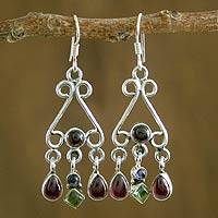 Garnet and peridot chandelier earrings,