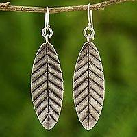 Silver dangle earrings, 'Summer Leaves' - Silver dangle earrings