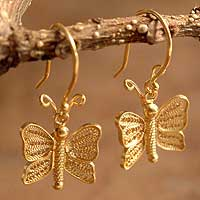 Gold plated filigree earrings, 'Butterfly Song' - Gold plated filigree earrings