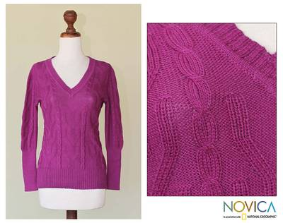 100% alpaca sweater, 'Barranca Beauty' - 100% alpaca sweater