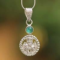 Opal pendant necklace, 'Inca Star Walker' (Peru)
