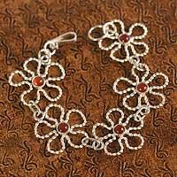 Carnelian flower bracelet,