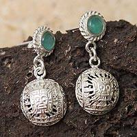 Opal dangle earrings, 'Inca Inti' (Peru)