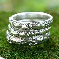 Sterling silver stacking rings, 'Silver Loves' (set of 3) - Sterling silver stacking rings