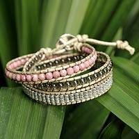 Rhodonite and smoky quartz wrap bracelet,