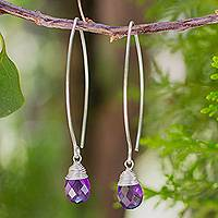 Amethyst dangle earrings, 'Sublime' - Handcrafted Fine Silver and Amethyst Earrings