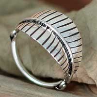 Silver band ring, 'Lush Foliage' - Unique Sterling Silver Cocktail Ring from Mexico