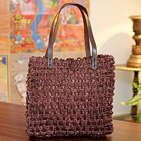 Sabai grass tote handbag, 'Country Wine' - Sabai grass tote handbag