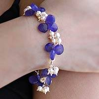 Pearl and chalcedony cluster bracelet,