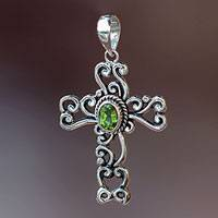 Peridot cross pendant, 'Balinese Cross' - Fair Trade Sterling Silver and Peridot Pendant