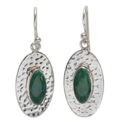 Fair Trade Sterling Silver and Chrysocolla Earrings