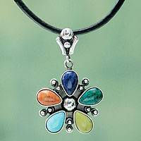 Multi-gemstone flower necklace, 'Andean Colors' - Fair Trade Multi Gemstone and Leather Necklace