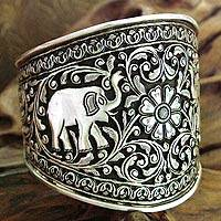 Sterling silver cuff bracelet, 'Elephant Secrets' (India)