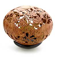 Coconut shell sculpture, 'Rhino Garden' - Coconut shell sculpture